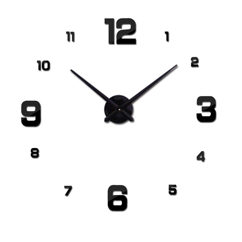 2019  Free Shipping New Real Metal 3d Diy Acrylic Mirror Wall Clock Watch Clocks Home Decoration Modern Needle Quartz Stickers