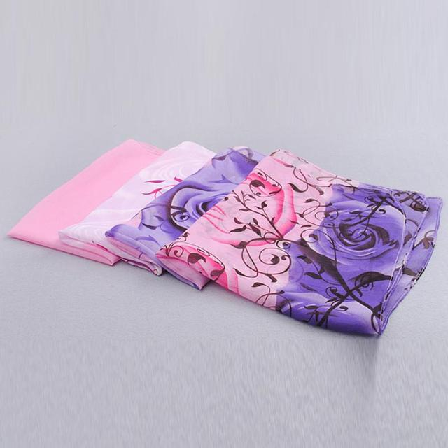 Rose print chiffon scarves woman thin shawl turban belt wholesale hijab fashion arabic scarfs wrap