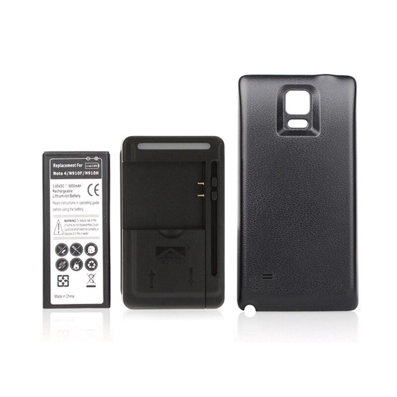 Étendue 6800 mah Garanti 100% Pour Samsung Note4 N9100 N910F N910H N910 pour D'origine Téléphone Batterie Bateria + Chargeur + Couverture arrière