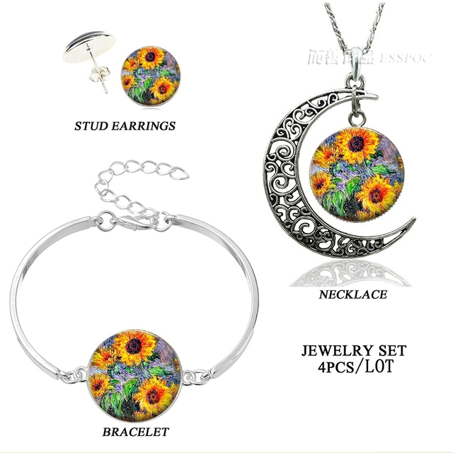 2017 New Arrival Monet Sunflowers Art Picture Necklace Earring
