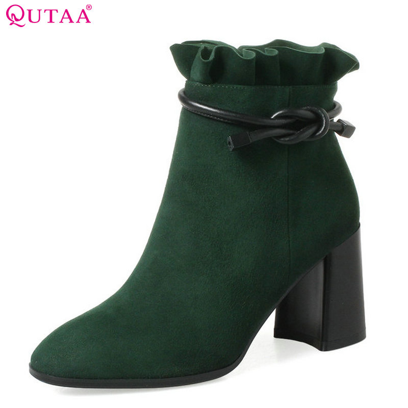 QUTAA 2018 Women Ankle Boots All Match Square High Heel Roound Toe Zipper Design Women Fashion Basic Ankle Boots Size 34-42 runail лампа ccfl led 18 вт