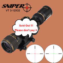 SNIPER VT 3-12X32 Hunting Compact Optical Sight Tactical Riflescope Glass Etched Reticle Red Green llluminate Rifle Scope