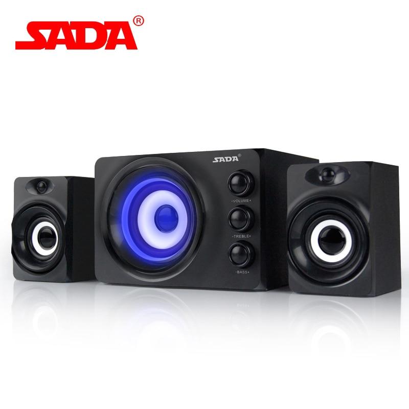 купить SADA Colorful LED Flashing Light Stereo Bass Computer USB Speaker PC Speakers Mini 3D Subwoofer for Smart Phone Laptop Notebook онлайн