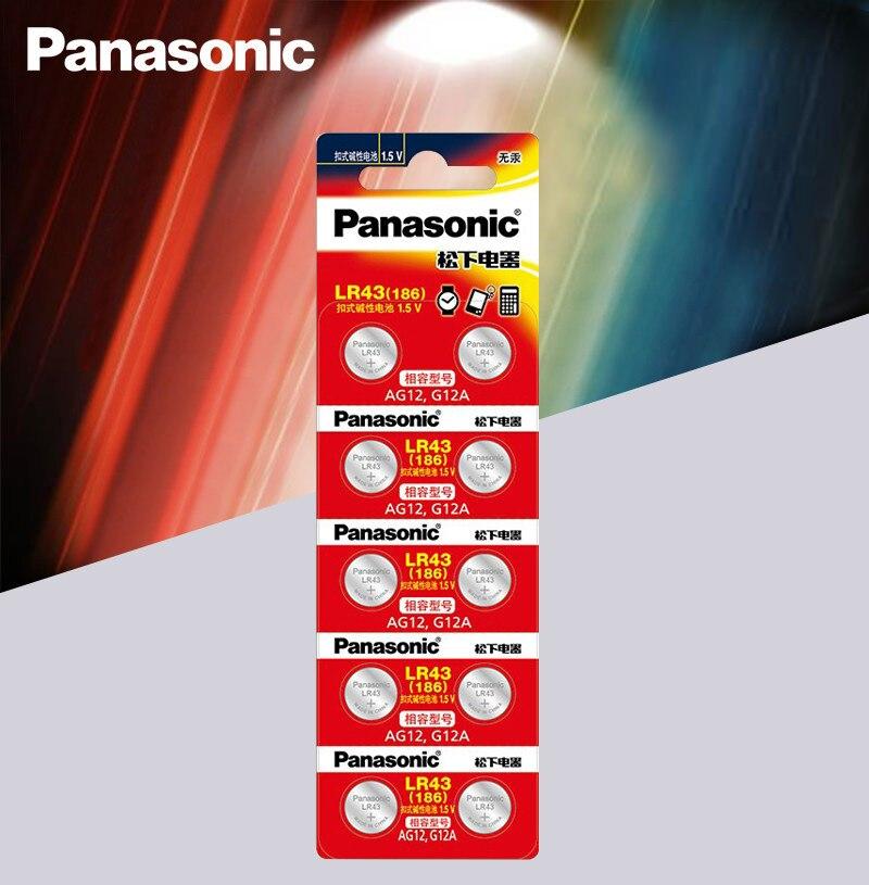 10pcs/lot Panasonic AG12 LR43 186 0%Hg For Watches Toys 1.5V Cell Alkaline Batteries For Calculator 0%Hg