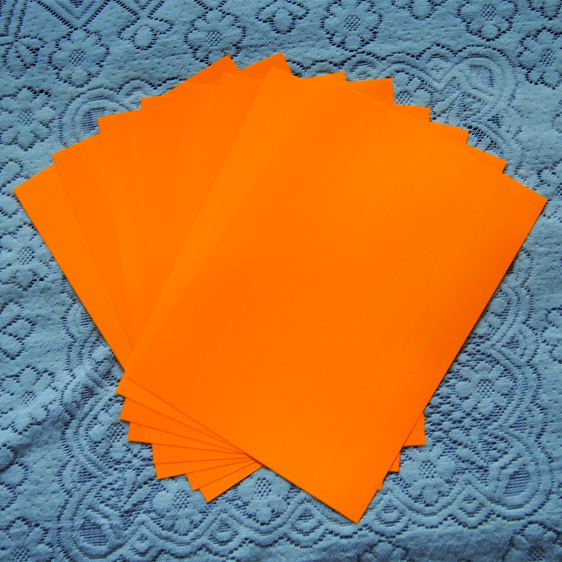 (A4*8pcs) Neon Orange Color Only PU Vinyl Heat Transfer Vinyl Paper For Clothing Iron On Vinyl For T Shirt Heat Press Vinyl