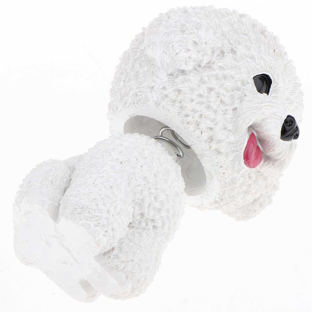 Bonito Cães Cabeça Bobble para Automóveis Dashboards Auto, Mini Figuras de Animais, Decoração de Mesa de Escritório Em Casa-Bichon Frise