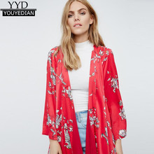 e573b390a92b5 New 2017 Women Boho Floral Printed Red Casual Loose Kimono cardigan Summer  Woman Long Cardigan 3