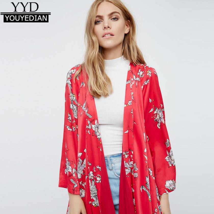 d6fa0b8b2917 Detail Feedback Questions about New 2017 Women Boho Floral Printed Red  Casual Loose Kimono cardigan Summer Woman Long Cardigan 3/4 Sleeve Open  Outwear Tops ...