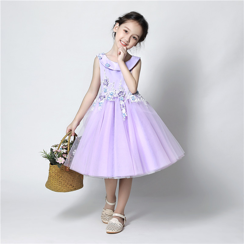 Sweet Violet Tulle   Flower   Beading Appliques Lace Ball Gown   Flower     Girl     Dress   for Wedding Bow Sash First Communion Prom   Dresses