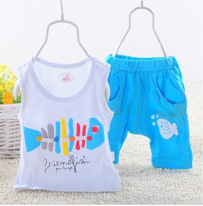 T-shirt+short pants children clothing sets Fish cartoon baby boy clothes girl suit 5 colors spring summer baby clothes suit