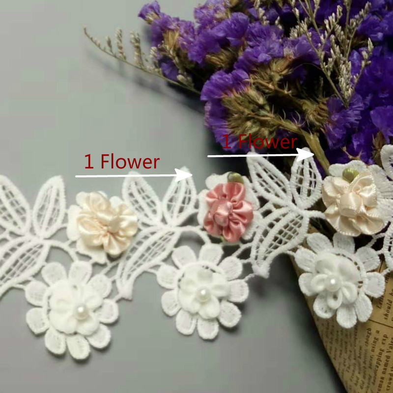 10X Soluble White and Pink Pearl Rose Flower Embroidered Lace Trim Ribbon Fabric Sewing Craft For Costume Hat Shoes Decoration