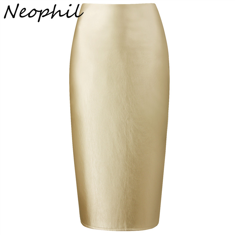 Neophil 2019 Ladies Sexy Pink Faux Leather Midi Lápiz Faldas de cintura alta de verano elástico Bodycon delgado Office Short Saias S0323