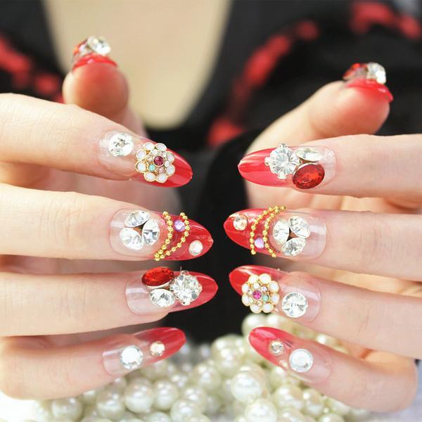 Metal rojo diamante novia de la boda esencial rojo festivo uñas de ...