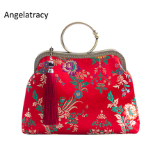 Angelatracy New Red Brocade Women Handbag Silk Crossbody Bags for Lady Cheongsam Clutch Bag bolsa feminina bolsos mujer Handmade цены