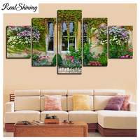 REALSHINING 5D Diamond Embroidery Window Flowers Multi picture DIY Full Square Rhinestones Painting Home Decor Needlework FS892