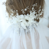 PEORCHID Korea Flower Pearl Hair Pins And Clips Accessori Capelli Sposa Crystal Head Jewelry Rhinestone Wedding Headpieces