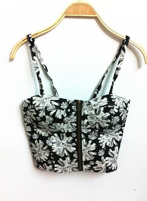 P205 nova moda europa AA flor totem colete curto zíper doce camisola bra peito envolto bustier cortar tops