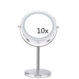 Image 1 - 10X مكبرة مرآة تجميل مع لمبة ليد مصباح ليد 360 درجة دوران مزدوج الوجهين سطح مكتب معدني التجميل الغرور لهدية عيد الحب
