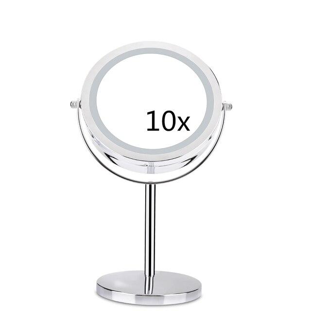 10X مكبرة مرآة تجميل مع لمبة ليد مصباح ليد 360 درجة دوران مزدوج الوجهين سطح مكتب معدني التجميل الغرور لهدية عيد الحب