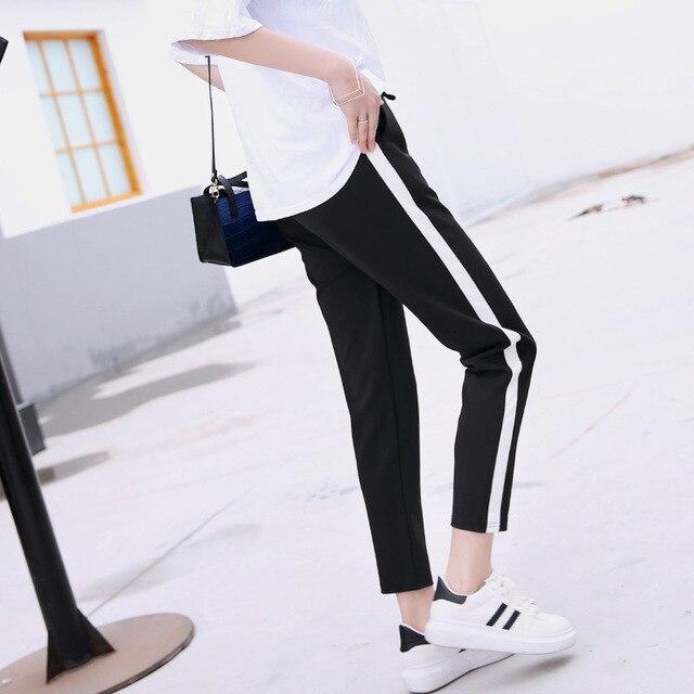 db9a01697fe 2017 Top Fashion Women Side Stripes Harem Pants Women Black Casual High  Waist Pants Plus Size Drawstring Trousers Pantalon Femme