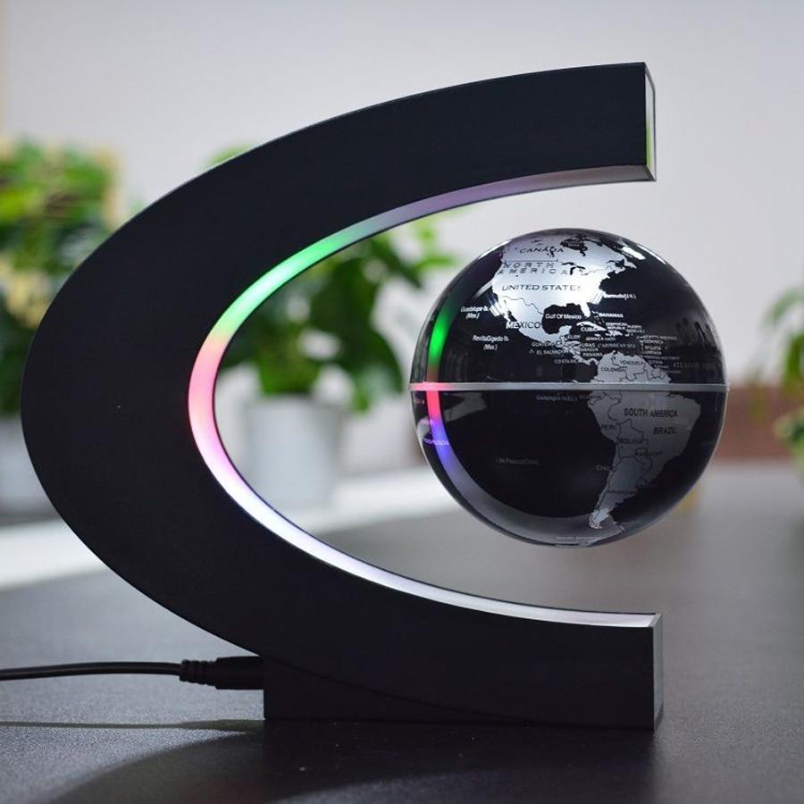 Electronic Magnetic Levitation Floating Globe World Map LED Light Home Decor
