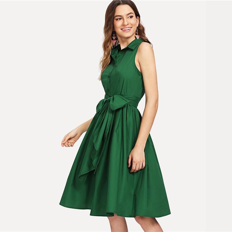 SHEIN Green Elegant Workwear Self Belted Shirt Stand Collar ... de00d1489