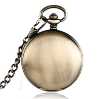 Self Winding Skeleton Pocket Watch Simple Bronze Copper Smooth Noctilucent Steampunk FOB Chain Automatic Mechanical Xmas