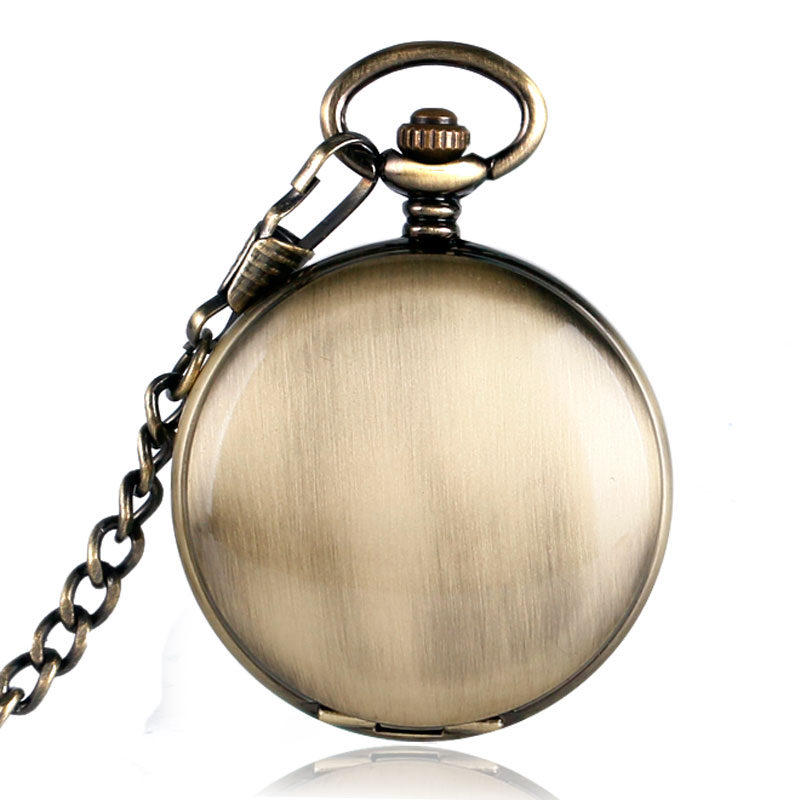Self Winding Skeleton Pocket Watch Simple Bronze Copper Smooth  Noctilucent Steampunk FOB Chain Automatic Mechanical Xmas Gift