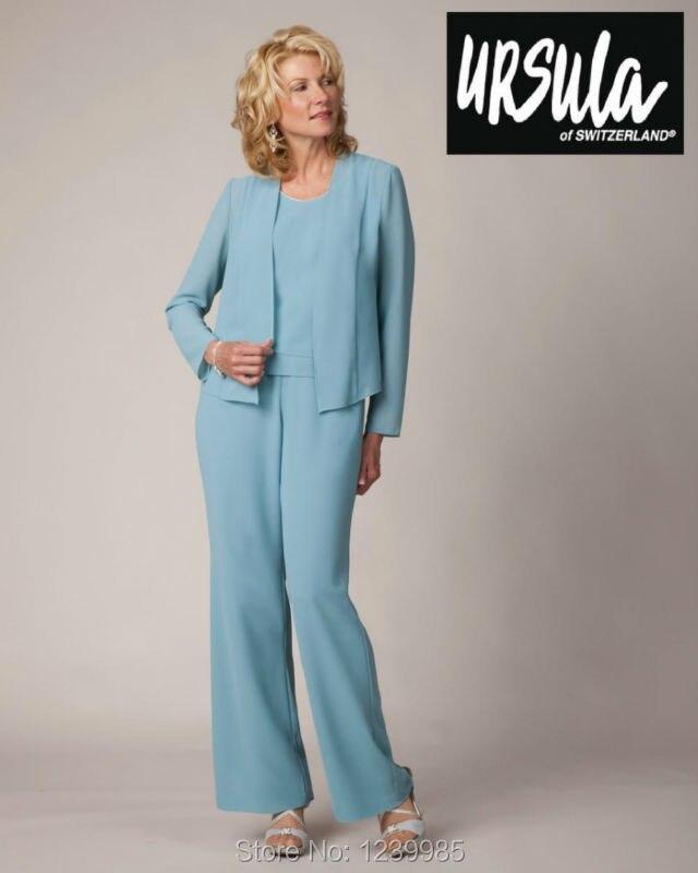 RM003 Plus Size Baby Blue Mother of the Bride Pant Suits Chiffon Pants Suit  Wedding Elegant Mother Bride Dresses with Jacket-in Mother of the Bride  Dresses ... a0b27f740d1b