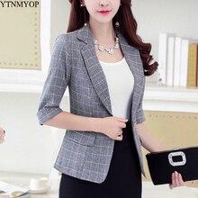 YTNMYOP женский клетчатый блейзер тонкий на одной пуговице три четверти офисный костюм для дам пальто Верхняя одежда Топы