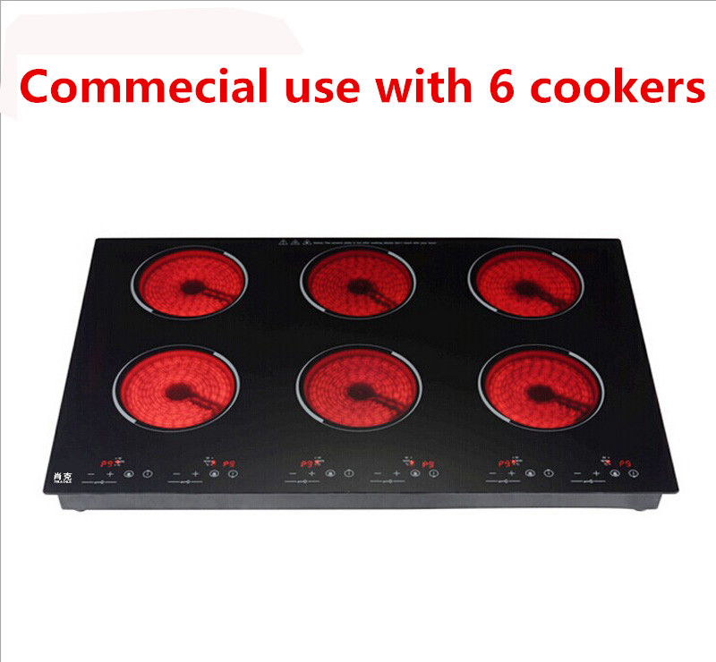 commercial electric ceramic induction cooker /cooktop/ stove /cookware/hob/ for bibimbap with six cookers 10800W(1800W*6) купить недорого в Москве