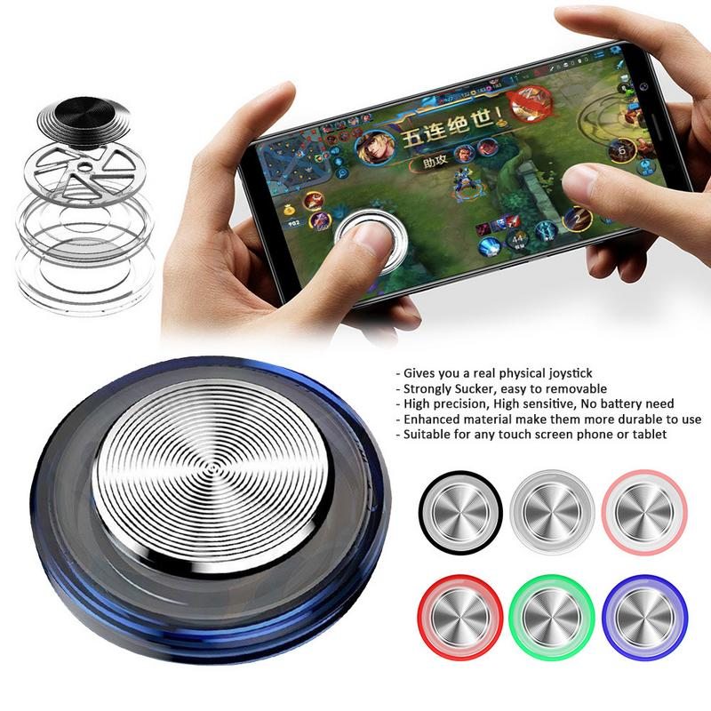 Round Game Joystick Metal Button Mobile Controller Mini Touch Screen Joystick Suction Cup Clip-on Clamp For Smartphone Tablet(China)