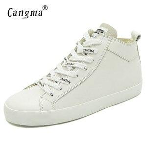 Image 3 - Cangma 이탈리아 디자이너 여성 캐주얼 신발 여성용 화이트 스니커즈 정품 가죽 신발 mid women footwear 여성 트레이너