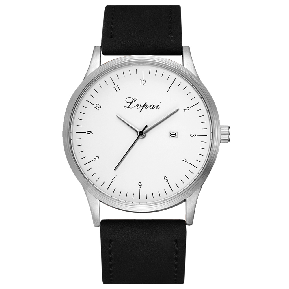 Black Quartz Watch Men Leather Strap Wristwatch Simper Style White Dial Man Bracelet relogio feminino jubaoli rotatable bezel male watch quartz leather strap wristwatch