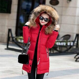 Image 4 - Kış ceket kadınlar büyük kürk kapüşonlu Parka uzun palto pamuk yastıklı bayanlar kış ceket kadın sıcak kalınlaşmak Jaqueta Feminina Inverno