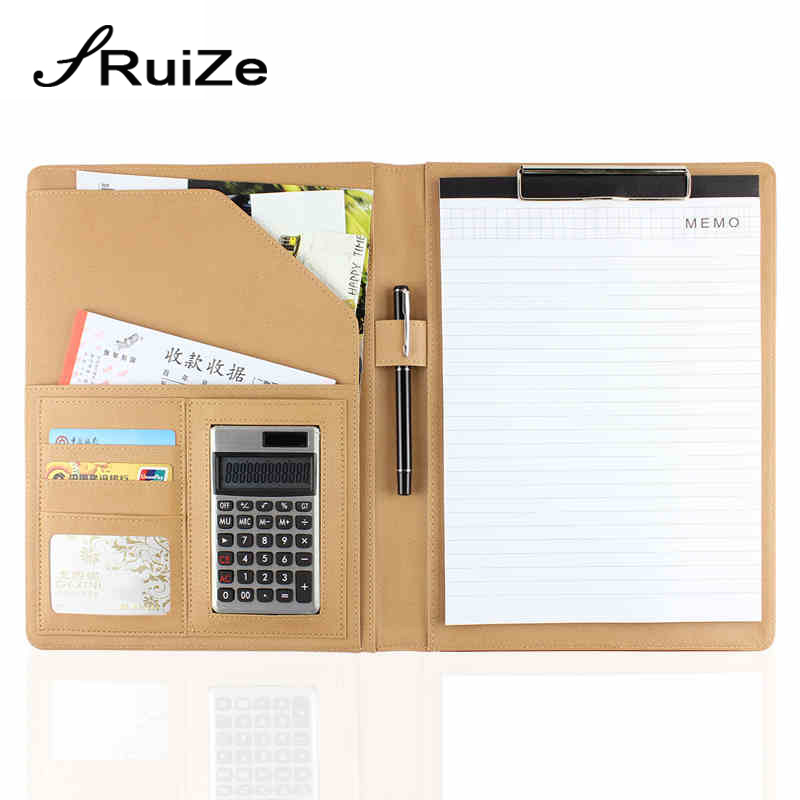 RuiZe High quality Multifunction A4 leather folder organizer padfolio soft cover file folder business office stationery supplies a4 manager folder multifunction leather office folder includes 12 bit calculator clipboard business organizer folder