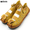 2016 Summer New Soft Bottom Flat Leather Shoes Personality Casual Women Sandals Tunnel Vintage Handmade Sandals For spring 2016