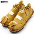 2016 Verano Nuevos Zapatos de Cuero Suave de Fondo Plano Personalidad de Las Mujeres Ocasionales Sandalias Túnel Sandalias Hechas A Mano de La Vendimia Para la primavera 2016