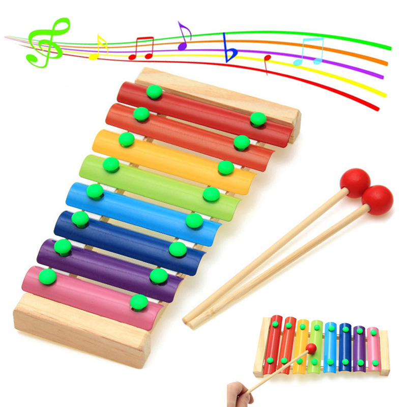 Wooden Xylophone Musical Instrument 8 Tones Toys Multicolor For Children Kids Baby FH99