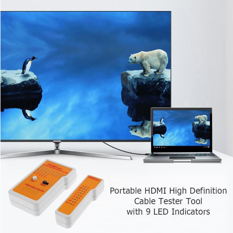 Портативный Высокое Разрешение HDMI кабель для дистанционного управления метр тестер детектор сетевой инструмент с 9 светодиодный индикаторы
