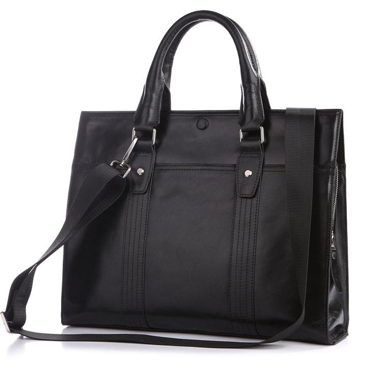Newest Fashion High Quality Black 100 Genuine Leather JMD font b Men s b font Briefcase