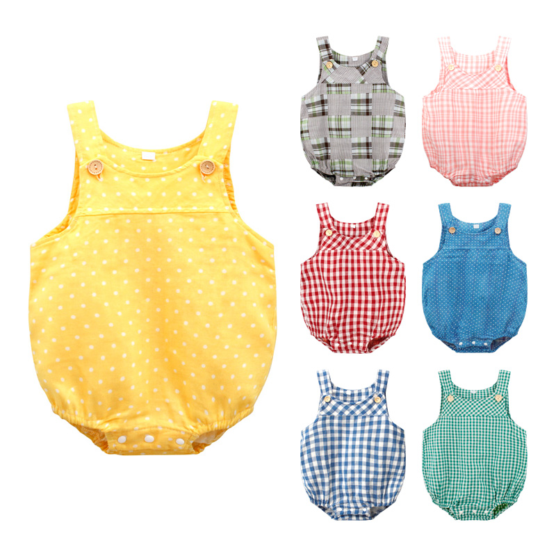 Baby Summer Clothing Cotton&Linen Baby Girl Ruffle   Romper   Suspender Overalls Infant Boy Jumpsuit Baby Clothes