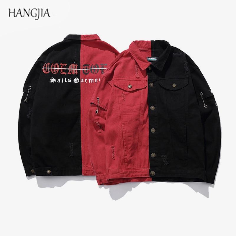 Уличная лоскутное смешанный Цвет готические буквы печати джинсовая куртка прилив Для мужчин ретро Patch Destroyed отверстия куртки хип-хоп