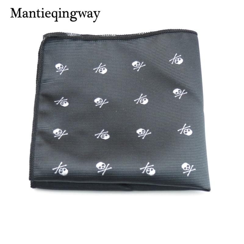 Mantieqingway márka koponya fekete Paisley férfi zsebkendő poliészter pontok mellkas törülköző divat zseb négyzetek nyakkendő handkechiefs