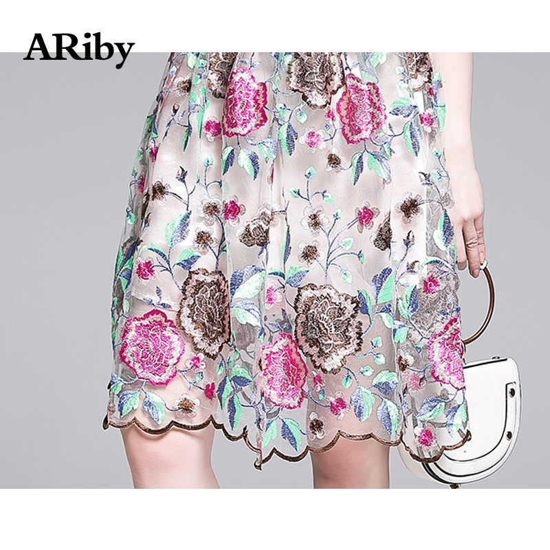 ARiby Women Summer Sweet Mesh Lace Floral Dress 2019 New Fashion Elegant Embroidered Flower Short sleeved O Neck A Line Dress in Dresses from Women 39 s Clothing