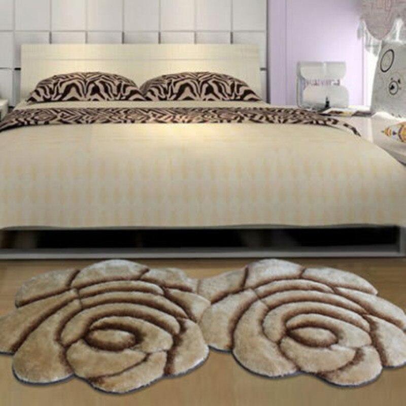 Nouveau tapis créatif en forme de fleur Europe 3D Double Rose tapis pour décorer salon chambre délicate tapis doux personnel