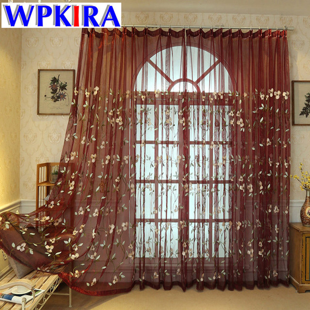 Blue Tulle Curtain Embroidery For Living Room Kitchen D Curtains Window Panel Sheer Wine Red