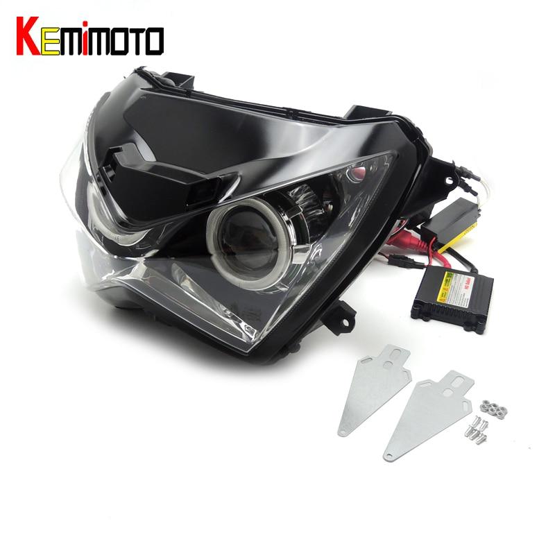 For kawasaki Z800 Halo Eye HID Projector Custom Headlight Assembly for Kawasaki  z250 Z800 2013 2014 2015 2016 Green light color feu led tmax 530