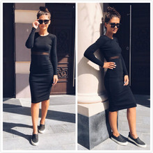Work Gray Burgundy Black Mesh See-Through Patchwork Mid-Calf Sexy Dress Bodycon Dress