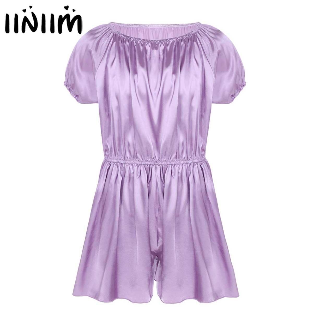 Mens Sissy Lingerie Bodysuit Short Sleeve Elastic Neckline And Waist Soft Shiny Frilly Satin Dress Pants Nightwear Girly Pajamas
